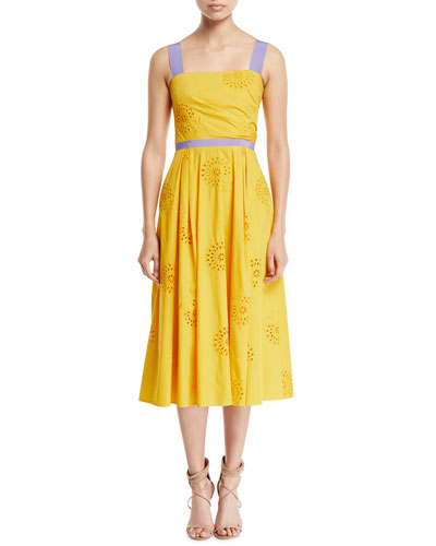 Eyelet-Embroidered A-Line Dress with Contrast Trim