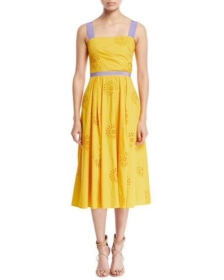 Carolina Herrera Eyelet-Embroidered A-Line Dress with Contrast