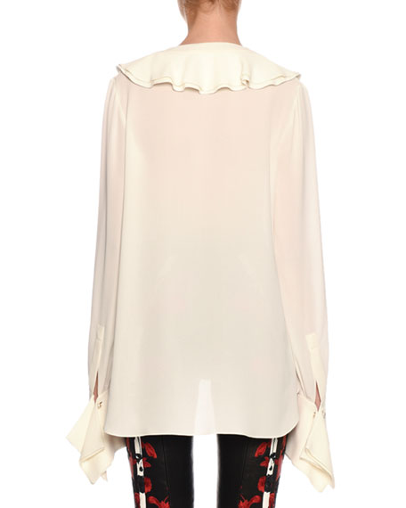 a05c49f661f02 Alexander McQueen Ruffle-Trimmed Button-Front French-Cuff Silk Blouse
