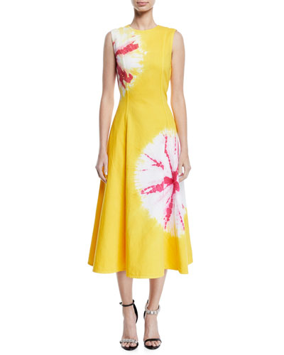 Sand Dollar Print Cotton Midi Dress