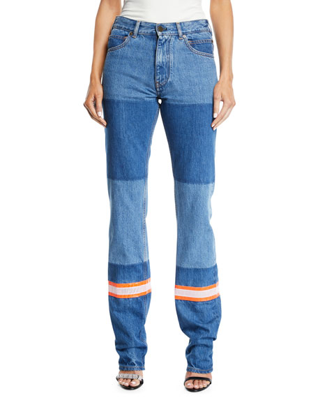 Mix Patchwork Straight-Leg Denim Pants