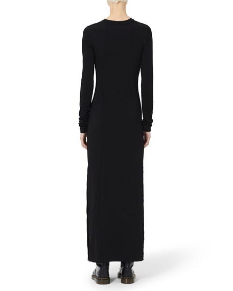 Long-Sleeve Jersey Maxi Dress with Cutout Yoke