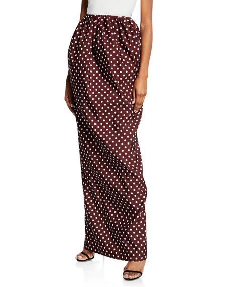 High-Waist Polka-Dot Maxi Skirt