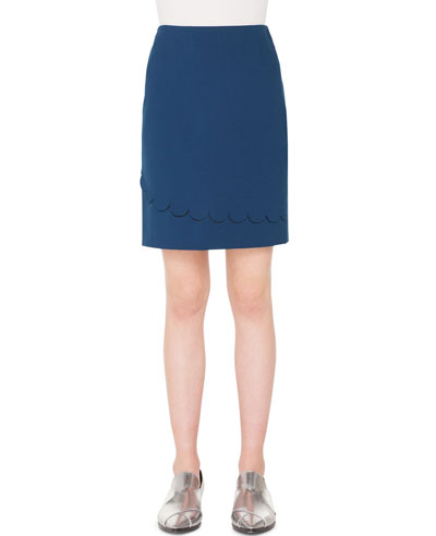 Stretch-Jersey Mini Skirt with Memphis Scallop Detail