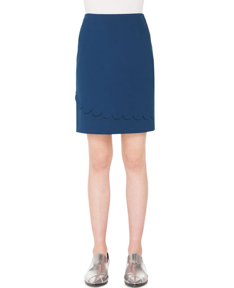 Akris punto Stretch-Jersey Mini Skirt with Memphis Scallop
