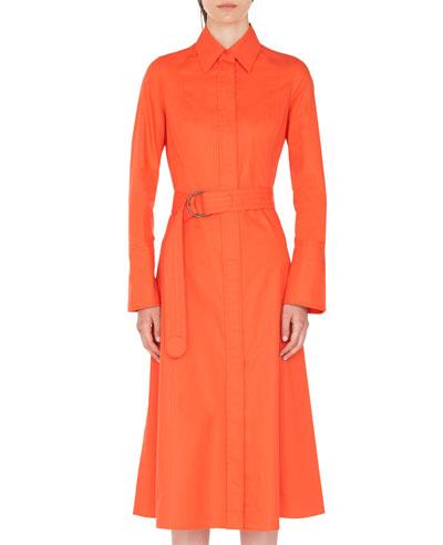 Belted Cotton Bell-Skirt Shirtdress