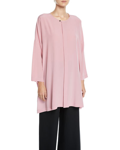 Bound-Neck High-Low Silk Blouse