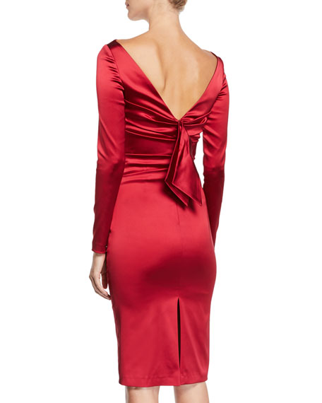 Long-Sleeve Ruched Satin Cocktail Dress