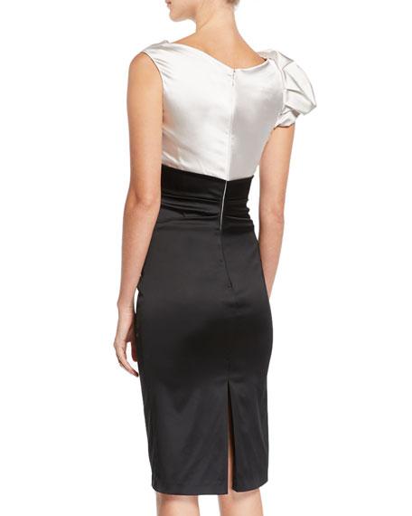Shoulder-Detail Colorblock Satin Cocktail Dress