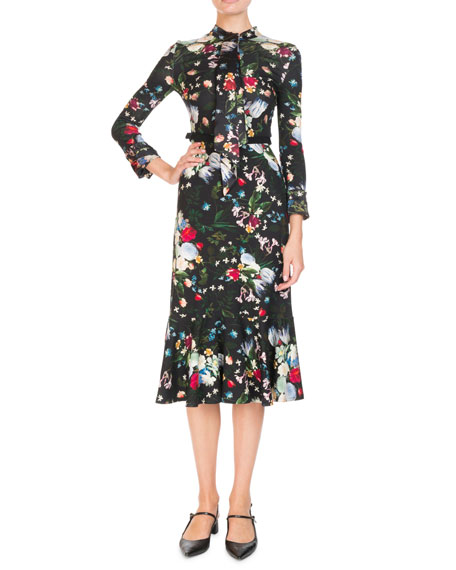 Hilma Tie-Neck Long-Sleeve Floral-Print Jersey Midi Dress