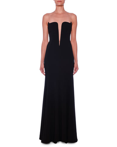 Deep-V Illusion Bustier A-Line Stretch-Cady Evening Gown
