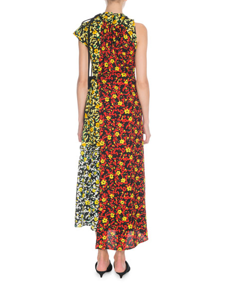 Sleeveless Mixed Poppy Wildflower-Print Asymmetric Long Dress