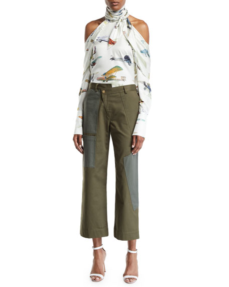 Asymmetric Wide-Leg Crop Cargo Pants