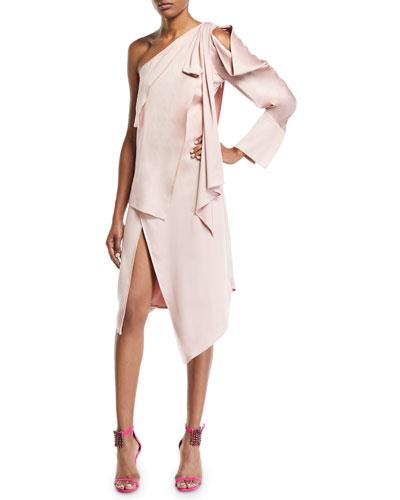 One-Shoulder Tie-Draped Slit Front Dress