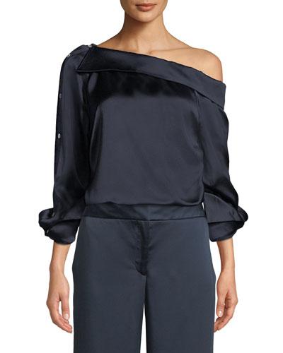 One-Shoulder Button-Sleeve Satin Shirt