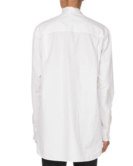 Ruffle-Front Poplin Shirt