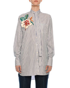 Floral Embroidered Tie Neck Pinstriped Shirt by Valentino