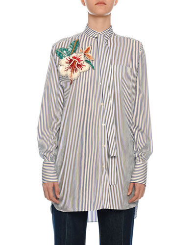 Floral-Embroidered Tie-Neck Pinstriped Shirt