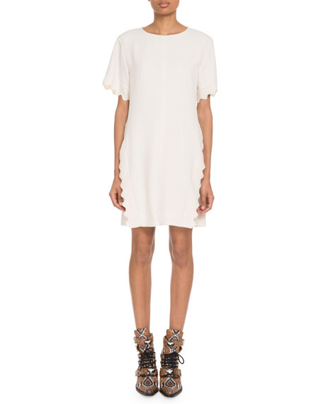 Image 1 of 1: Scalloped-Trim Short-Sleeve Crewneck Crepe Shift Dress