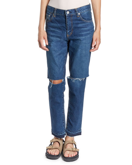 Slash-Knee Straight-Leg Jeans w/ Released Hem