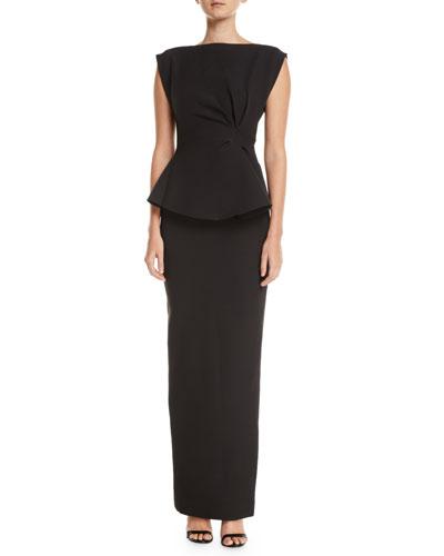 Peplum Ruffle-Back Cinched-Waist Column Twill Evening Gown