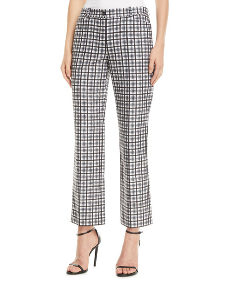Image 1 of 1: Painterly Stripe Crepe Cady Cropped Trousers
