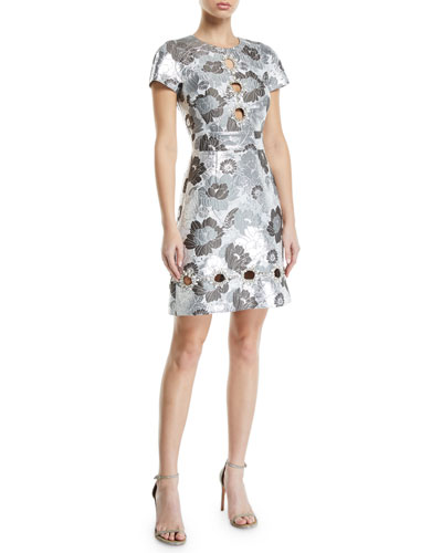 Summer-Floral Metallic Brocade Cutout Shift Dress
