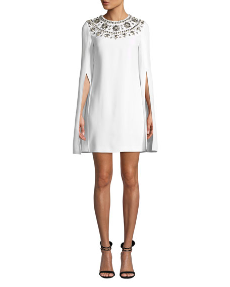 Image 1 of 1: Crystal Puka-Shell Embellished Slit-Sleeve Mini Dress