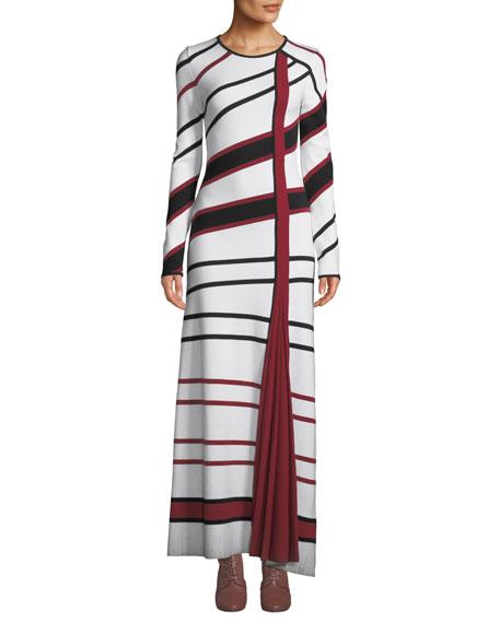 Gabriela Hearst Dresses RUBEN LONG-SLEEVE ASYMMETRIC-STRIPE WOOL-BLEND MAXI DRESS