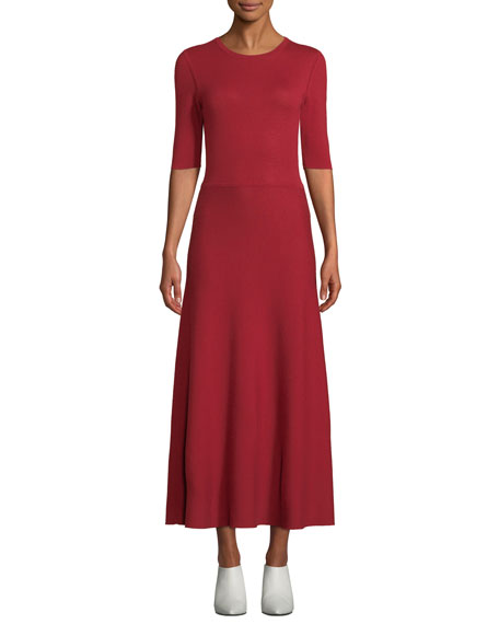 Gabriela Hearst SEYMORE ELBOW-SLEEVE CREWNECK REVERSIBLE CASHMERE-WOOL MID-CALF DRESS
