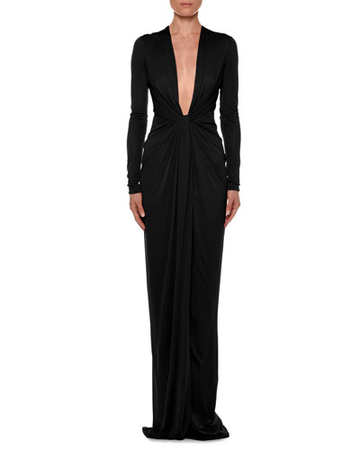 Long-Sleeve Plunging V-Neck Knotted Gown