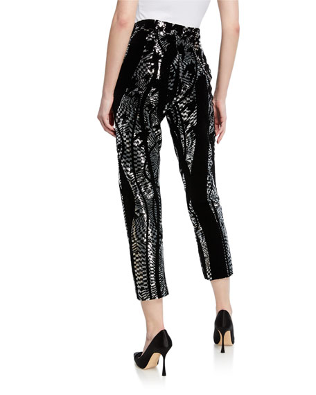 Flocked Sequined Skinny Pants