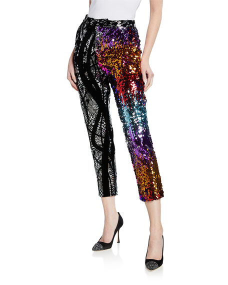 Flocked Multicolor Sequin Skinny Cropped Pants