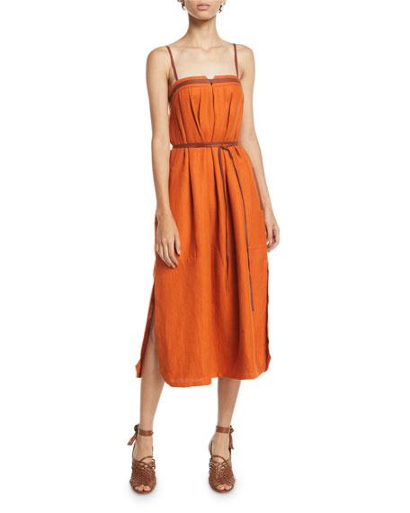 Loro Piana Naille Antigua Linen Sundress with Leather