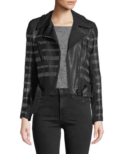 Stud-Striped Leather Moto Jacket