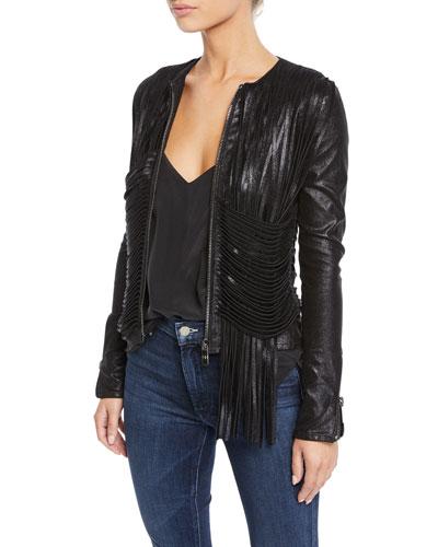 Collarless Shimmer Leather Fringe Jacket