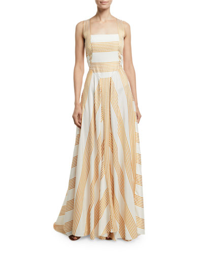 Camille Long Miter-Stripe Sundress