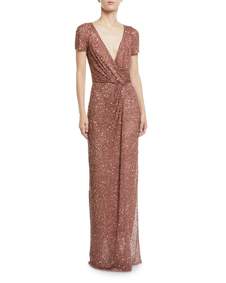 Cap-Sleeve Knotted-Front Sparkle Wrap Column Gown