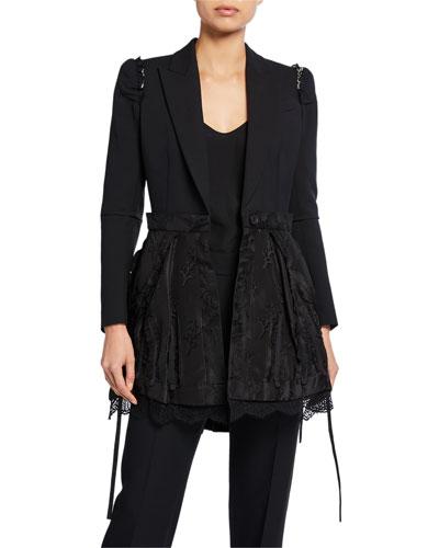 Ruffled-Shoulder Lace-Peplum Blazer