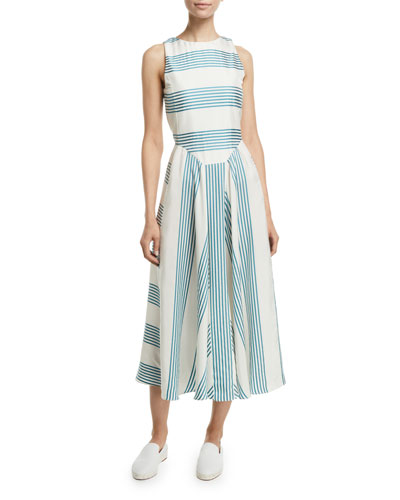 Sleeveless Striped Silk Midi Dress
