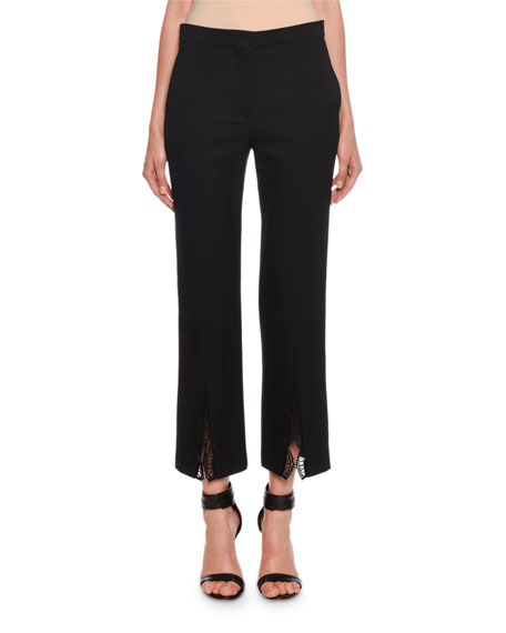 Slim-Leg Lace-Trim Leaf-Crepe Trousers