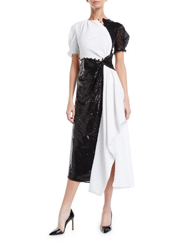 Short-Sleeve Colorblocked Sequined Asymmetric Gown