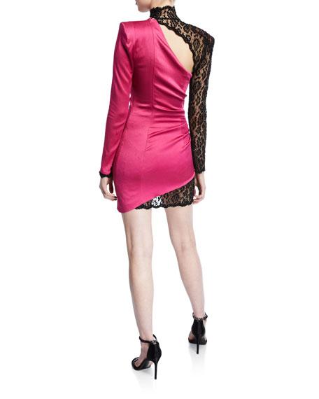 Stretch Satin & Lace Illusion Mini Dress