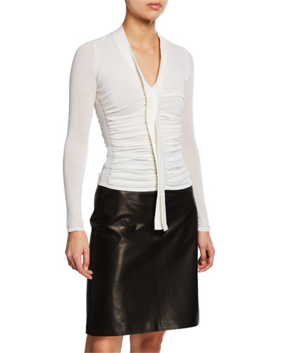 Ruched V-Neck Wool Top
