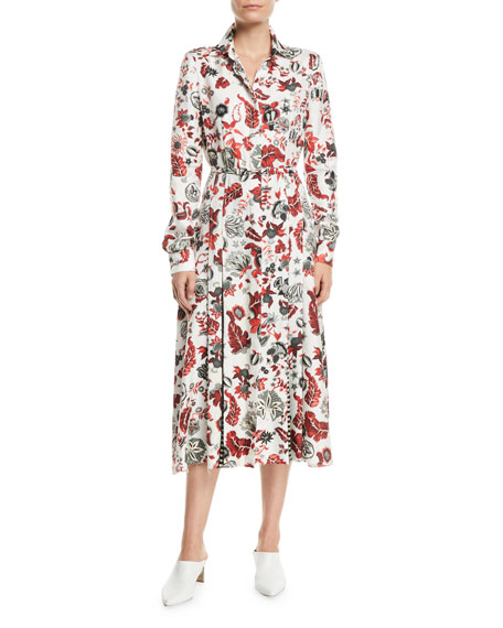Jane Long-Sleeve Floral-Print Silk Midi Dress