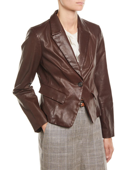 Country Leather One-Button Blazer Jacket