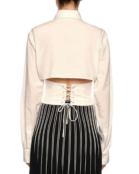 Button-Front Cropped Corset Blouse