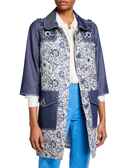 Image 1 of 1: 3/4-Sleeve Floral-Print and Denim Coat w/ Embroidery