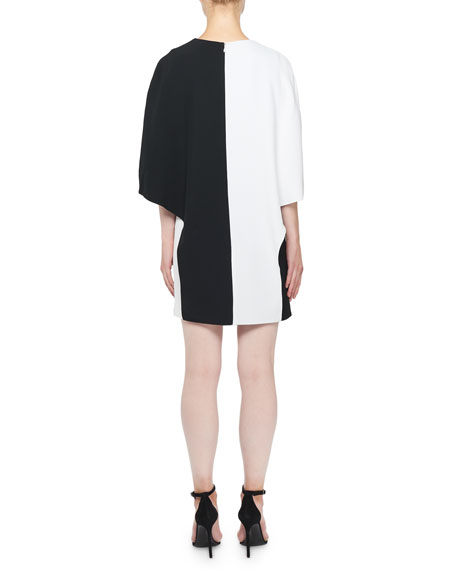 Colorblocked Cape Dress