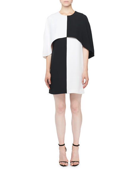 Image 1 of 1: Colorblocked Cape Dress